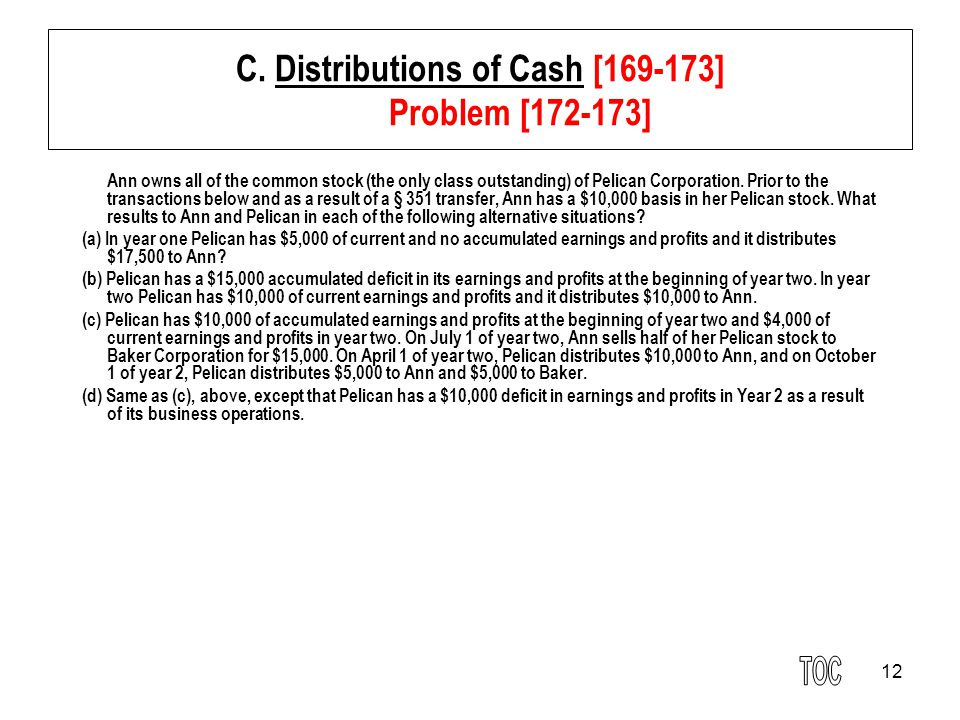 C. Distributions of Cash [169-173] Problem [172-173]